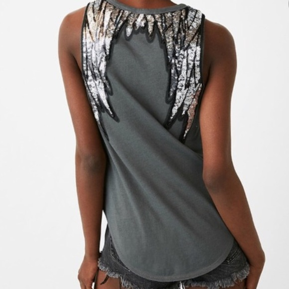 """Express One Eleven Sequin """"Wings"""" tank"""